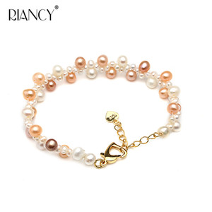 Fashion beautiful Multicolor natural freshwater small pearl bracelet female multilayer double bracelet pearl