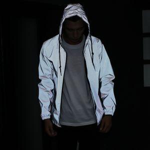 Flut Jacke Männer 3m Reflektierende Jacke Beiläufige Hiphop Windjacke Nacht Sport Mantel Mit Kapuze Fluoreszierende Kleidung Paar Kapuzenjacke Heißer Verkauf