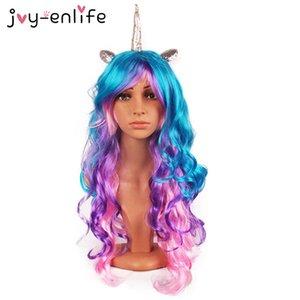 Eco-Friendly Joy -Enlife 1set Cosplay Unicorn peruca Feliz Aniversário Unicorn Tema do partido Decoração Baby Shower Supplies crianças partido crianças
