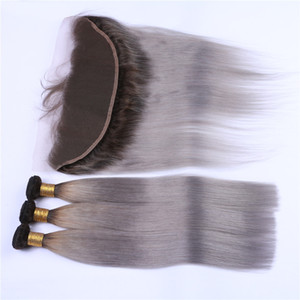 Dark Rooted # 1B / Grey Ombre 13x4 Dentelle Frontale Clsoure avec 3 Offres Bundle Straight Ombre Argent Gris Malaisienne Cheveux Weaves avec Full Frontals