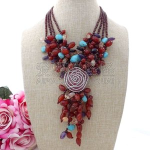 "N110104 18 ""4 Stands Garnet Necklace CZ Pendant"