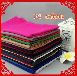84 New Chiffon Muslim Kopftuch Hui Long Schal 180 * 75 Muslim Monochrome Chiffon Großhandel High-Grade Schals