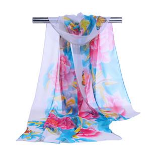 Großhandel Frauen Chiffon Schal Pfingstrose Druck Schals Schals Seidenschal Frühling und sommer neue stil 8 Farben