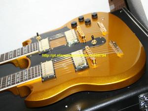 Personalizado de Ouro 1275 Double neck Guitarra Elétrica Dourado Peças de ouro 12 cordas / 6 cordas Guitarras China guitarra Frete grátis