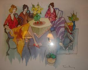 Ицхак Таркай блаженный момент, ручная роспись / HD печать Леди кафе портреты настенная живопись маслом на холсте.Мулти Изготовленные На Заказ Размеры / Рамка Ит109