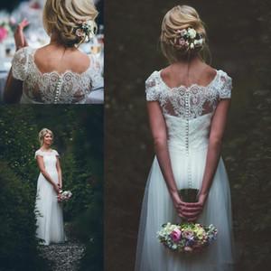 2019 Vintage Wedding Dresses Lace Short Sleeeves Buttons Back Vestidos De Novia Long Floor Tulle A Line Bridal Gowns
