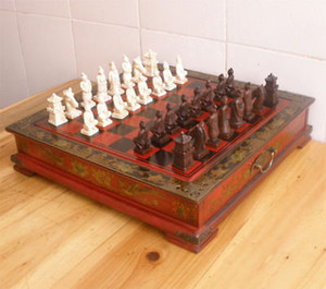 Китай династия Цинь армия стиль 32 шт шахматы кожаный деревянный ящик доска таблица
