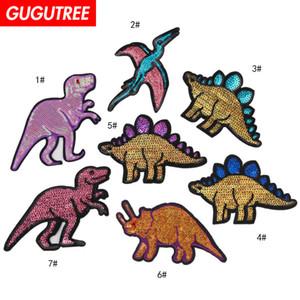 Patchs de dinosaure paillette broderie GUGUTREE patchs de monstre badges patchs appliqués pour vêtements