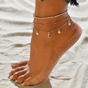 여름 새로운 유럽과 미국의 구두 멀티 레이어 여성 파란색 별 문 구두 여성 작은 보석 발 체인