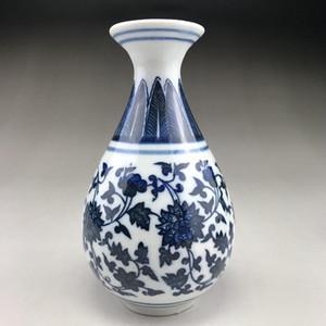 Vase en céramique de Chine peint bleu et blanc à la main, style qian longue marque