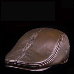 Мода овчины кадет для человека натуральная кожа мужские Baret коровьей плоской крышкой таксист шляпа старинные Газетчик плющ вождения крышка