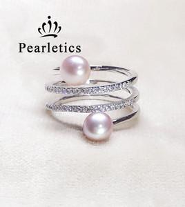 Cubique Zircone solide bague en argent réglage, double perle trois couches anneau de montage, anneau blanc sans perle, bijoux DIY, Cadeau DIY