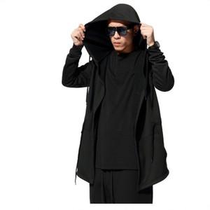 Felpe con cappuccio da uomo con abito nero con maniche hip-hop con cappuccio Felpe con cappuccio moda con maniche lunghe mantello Cappotti da uomo Outwear