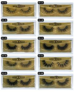 3d de haute qualité Mink cils épais vrais cheveux de vison faux cils naturels pour faux Extension de maquillage Beauté Cils faux cils 10 modèles