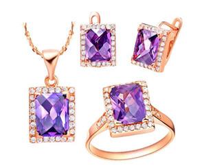 2018 bijoux de mode pour femmes ensemble 18K plaqué or rose forme carrée Améthyste pendentif boucles d'oreilles bague ensemble femmes cristal accessoire 1 ensemble