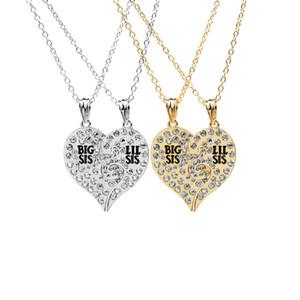 Горный хрусталь сломанной форме сердца BIG SIS LIL SIS ожерелье брелок набор 2 семьи ювелирные изделия подарок для друзей сестры