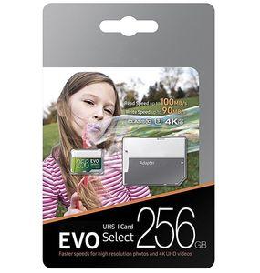 256 GB 128 GB 64 GB 32 GB EVO Seleccione Memoria TF tarjeta U3 de 100 MB / s de alta velocidad Clase 10 Rápido para Cámaras teléfonos inteligentes de Tablet PC