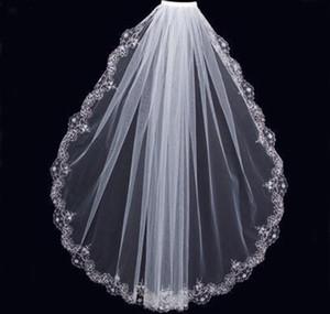 Encantador blanco marfil velos cortos Fiesta de boda de lujo Con cuentas de encaje Recortar Una capa Barato de alta calidad nupcial Mantilla Tulle con peine