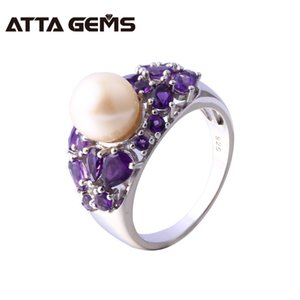 Natural Freshwater Pearl Amethyst Silver Ring Women Round 8.5mm Natural Amethyst Purple Quarts Special Design Top Quality Y18102610