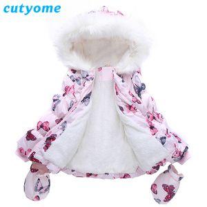 Cutyome 2017 Yeni Kız Kış Palto Moda Hoodies Kelebek Sıcak Kürk Ceket Çocuklar Parka Palto ile Eldiven Çocuk Kalın Ceket