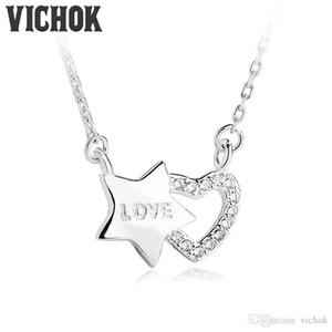 Collana con pendente in argento sterling 925 Heart Plus Collana con forma a stella Only True Love per donna Lover Platinum Rose Gold Colori VICHOK