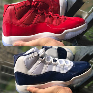 Calidad superior 11S Space Jam 45 Real Carbon Fiber Gym Rojo Midnight Navy Hombres Zapatos de baloncesto Jams 45 Athletic Sport Sneakers