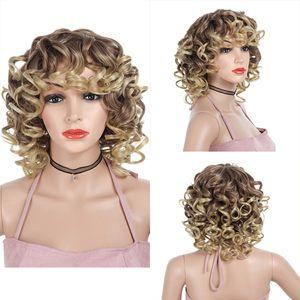 Lady Short Synthetic Bob Curly Ombre Hair Barato Side Bang Químico Headgear Teñido Parcialmente corto Fibra resistente al calor Peluca