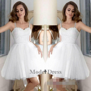 White Homecoming Dresses A Line Tulle Lace Appliques Spaghetti Straps Sequined Beading Waist Elegant Girls Party Dresses Short 2019