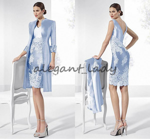 Glamorous Lilac Taffeta mother's dress V-neck Neckline Short Sheath Mother Of The Bride groom Dresses With Lace Appliques & Coat