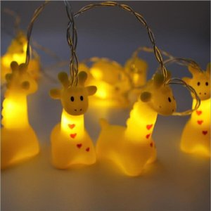 SXI Free shipping 2pcs lot 1.5m 10 Lights giraffe led string lights with 2AA Battery Box for decoration