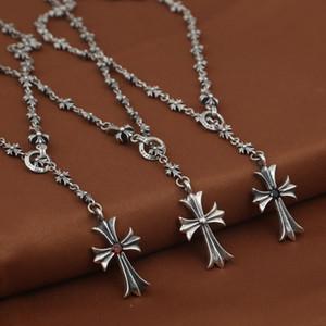 Совершенно новый 925 Стерлинговые серебряные украшения Винтаж Американский стиль Старинный серебристый дизайнерский дизайнер Cross Cleance ожерелье для мужчин