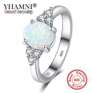 YHAMNI Unique Feu Blanc Opale Pierre Anneau 925 Argent De Luxe Zircon De Mariage Bijoux Promesse Bagues De Fiançailles Pour Les Femmes RA0189