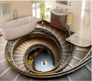 Fondo de pared tridimensional pintada de la escalera de caracol 3D del piso de la sala de estar