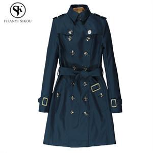 Herbst New England Stil Classic Double Breasted Eternal klassische Serie High-End-Trenchcoat Frauen Slim Business Outwear Female