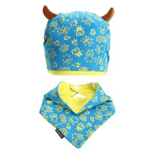 겨울 따뜻한 베이비 모자 비니 모자 세트 반가 나 턱받이 괴물 디자인 모자 헤드 스카프 보이 여자 아이 유아 니트 모자