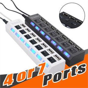 Ports Hub Hight Quality 4 o 7 porte USB Estensione Splitter Hi-Speed USB 2.0 480Mbps USB compatibili con USB 1.1 / 1.0 per il computer portatile del PC No Pacchetto