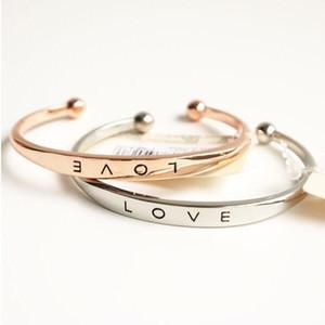 Forever Love Brazalete abierto Brazalete Pulseras ajustables de plata y oro rosa para las mujeres amantes Brazaletes 3 colores