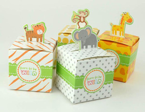 500pcs Giraffe elephant monkey tiger Animail animals Baby Shower favors Gift Birthday Party Boxes Wedding Children's day Candy box