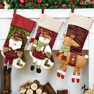 Decorações de natal Para Casa Natal Saco Xmas Árvore Pendurado Decoração Santa Claus Meias Santa Sacks Enfeites De Natal