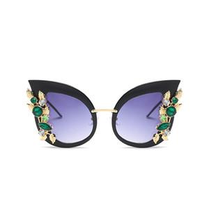 Vintage Kristall Cat Eye Sonnenbrille Frauen Luxus Retro Strass Blume Sonnenbrille Für Sunmmer Strand Eyewear Glas UV400