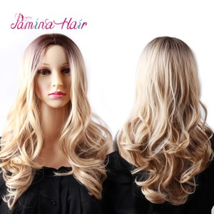 PAMINA Long Halloween Two Tone Ombre Curly Wavy Wigs Heat Resistat Dark Root to Brown Midddle Part Full Head Wigs