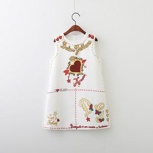 Retail Primavera-Verão menina vestido novo Cartas de amor coração Moda Vestido de Verão sem mangas Black White Roupa das Crianças E80703