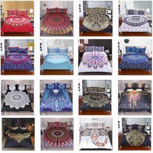 Ensembles de literie pour housse de couette Taie d'oreiller Couverture 3pcs / Set Elephant Mandala Bohemian Quilt Fournitures Couverture de décoration de Noël cadeau HH7-1792