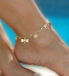 Hojas de Bohemia para el tobillo del pie de playa Pierna joyería de la cadena de la mariposa de la libélula para el tobillo Para los pies de las mujeres sandalias descalzas de pulsera en el tobillo