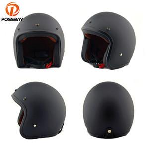 Possbay Black ABS ABS Plastic Motorcycle Caspetto uomo scooter Casque retrò open faccia moto motocross casco casco moto per