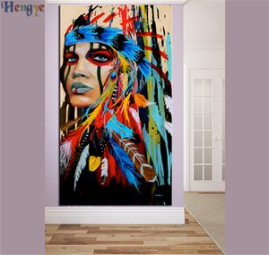 ZYXIAO Big Size Ölgemälde Kunst menschen chief pferd Wohnkultur auf Leinwand Moderne Wandkunst Kein Rahmen Drucken Poster bild ys0029