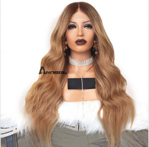 Anogol Blonde Lace Front Wig Synthetic Cabelo Peluca Long Water Wave Ombre Wigs