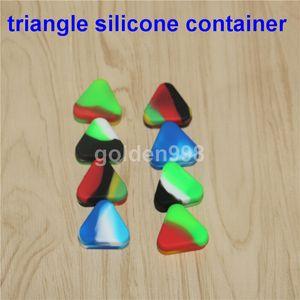 مثلث سيليكون حاوية صندوق الشمع 1.5 مل سيليكون الجرار الجاف عشبة الشمع مربع حاوية Dab غير الصلبة لون نقي اللون الشمع
