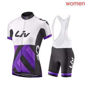 ropa ciclismo 여성 자전거 유니폼 LIV 여름 MTB 자전거 셔츠 bib 반바지 세트 레이싱 의류 승마 의류 자전거 톱과 짧은 키트 F2621