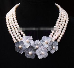 ретро женщины резной оболочки ушка цветок тонкой Воды Жемчужина strand ожерелье партии